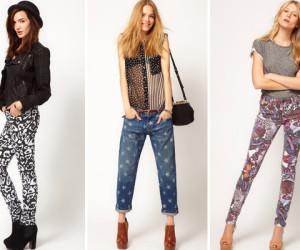 MODETREND Jeans met een print