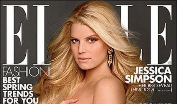 Jessica Simpson naakt en zwanger op cover van Elle