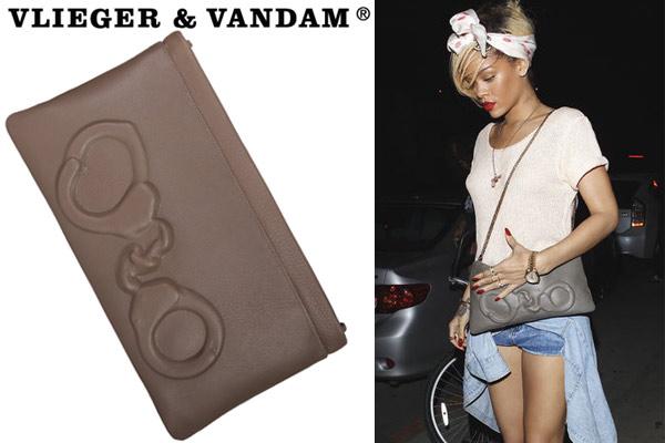Rihanna met een clutch van Vlieger & Vandam