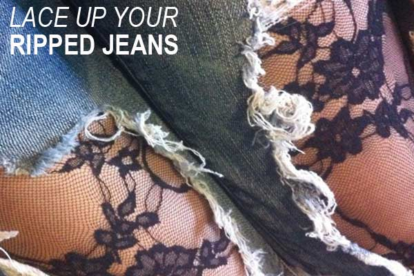 DIY lace up your ripped jeans