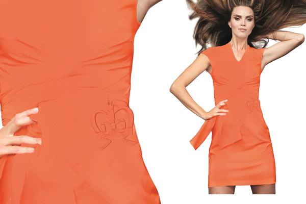 Oranje Designer Dress van Monique Collignon - kroontje detail