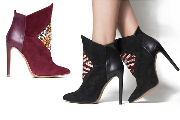 High Heeled Kelim Boots van HOWSTY - Bordeaux & Zwart