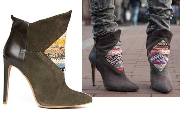 High Heeled Kelim Boots van HOWSTY - Bruin & Grijs