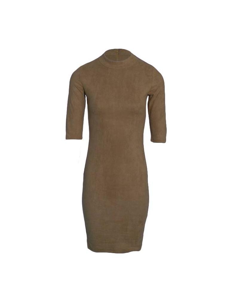 col-zipper-suede-dress-khaki