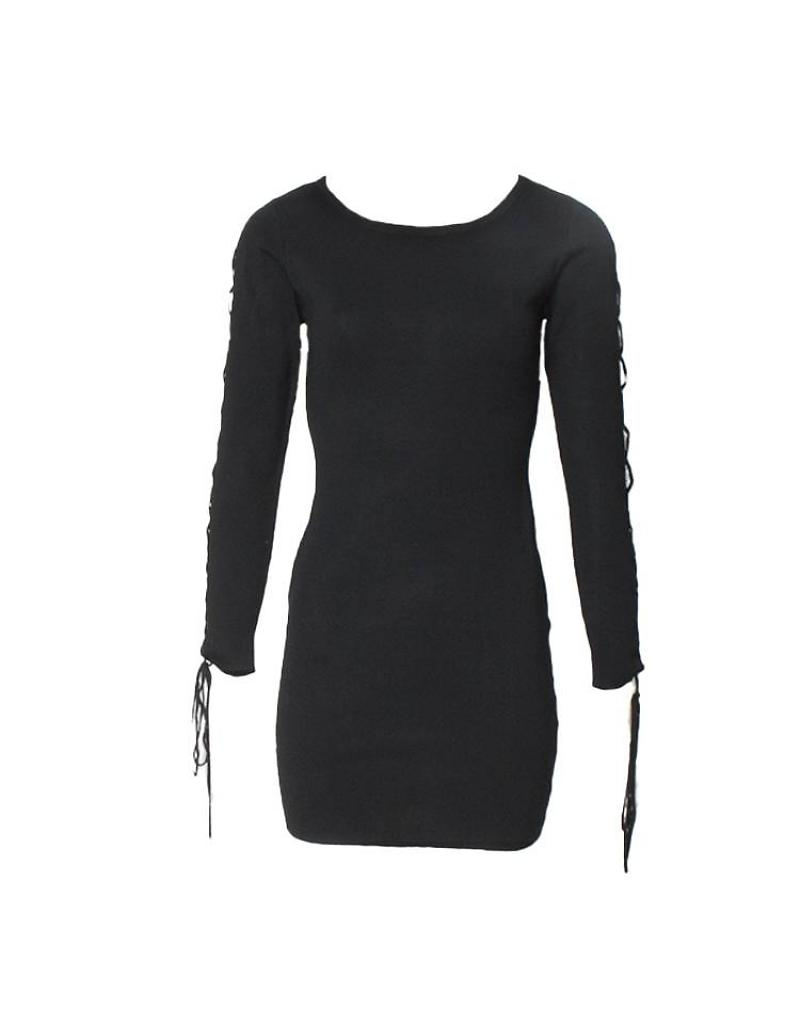 cord-sleeve-dress-zwart